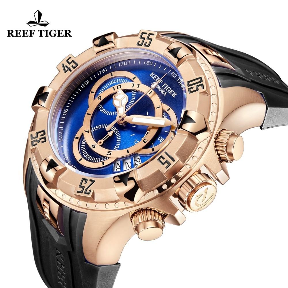 Nuevo tigre de arrecife/RT todos los relojes deportivos de moda azul Reloj de oro rosa para hombre cronógrafo de fecha grande hombre RGA303 2 - 6