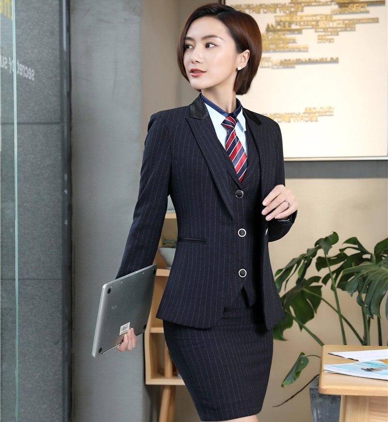 72b310563 Moda Listrado Blazers Elegantes Formais Estilos Uniformes Com 3 peças  Casacos + Saia + Colete Senhoras Outfits Conjuntos de Saia Mais tamanho em  Ternos de ...