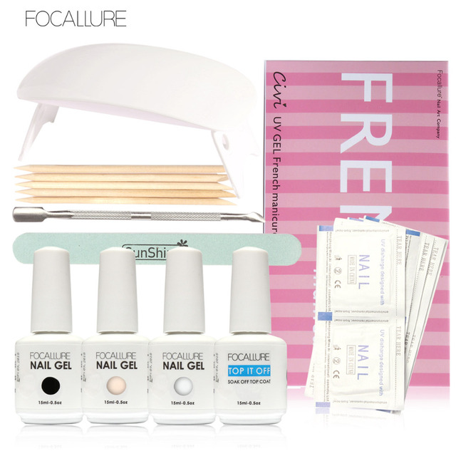 Focallure 15ml/pc High Quality Gel Nail Polish UV Led Soak Off Nail Gel Polish DIY French Manicure Kit Sunuv Led UV Lamp
