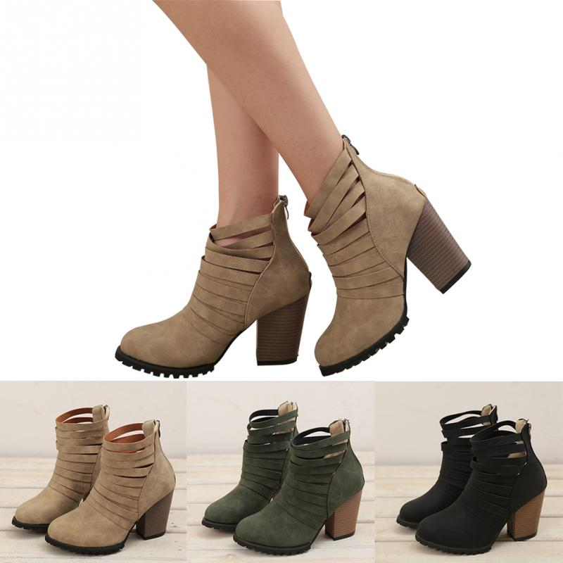 2018 Autumn Winter Ankle Boots Women Fashion High Chunky Heels Martin Boots Ladies Shoes Zipper Boots Botas Mujer Black Khaki цена 2017