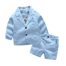 Baby Boys Clothes Formal Spring Autumn Boys Clothing Sets Gentleman Kids Clothing Sets Coat + Shorts 2 Pieces Boys Jacket Suits