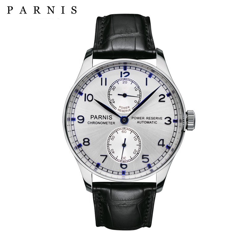 PARNIS Power Reserve 43mm Men's Watch Luxury Brand Top Genuine Leather Automatic Mechanical Watches for Men Clock montre homme power reserve 1x