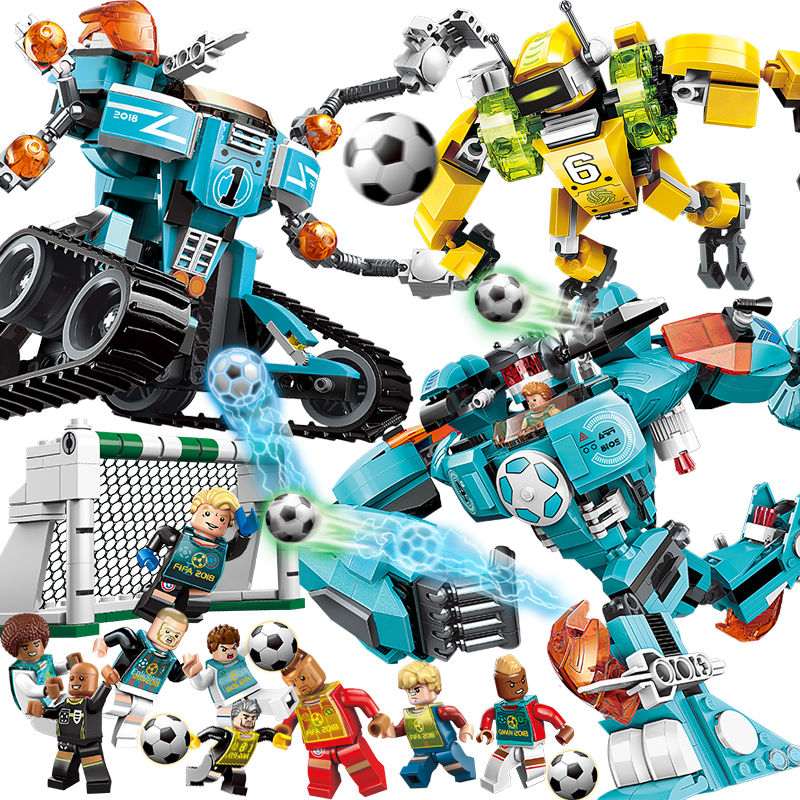 Future Warrior Football Player Spartak Moscow team Gundam Robot Building Blocks Sets Bricks Model Kids Toys Compatible Legoings