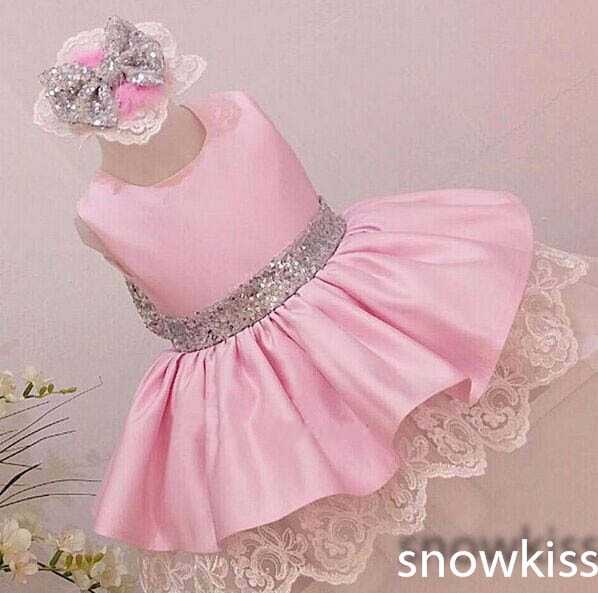 Sparkly bling silver sequins pink satin flower girl dresses infant sparkly bling silver sequins pink satin flower girl dresses infant baby lace ball gown birthday day mightylinksfo
