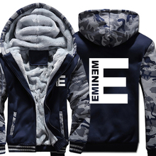цена Eminem Hoodie Men HipHop Hooded Sweatshirt Coat New Fashion Winter Thick Fleece Warm Kpop Streetwear Camouflage Punk Rock Jacket