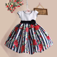 1 5Y Floral Print Baby Girls Dress Black Striped Rose Cotton Kids Dresses For Party Birthday