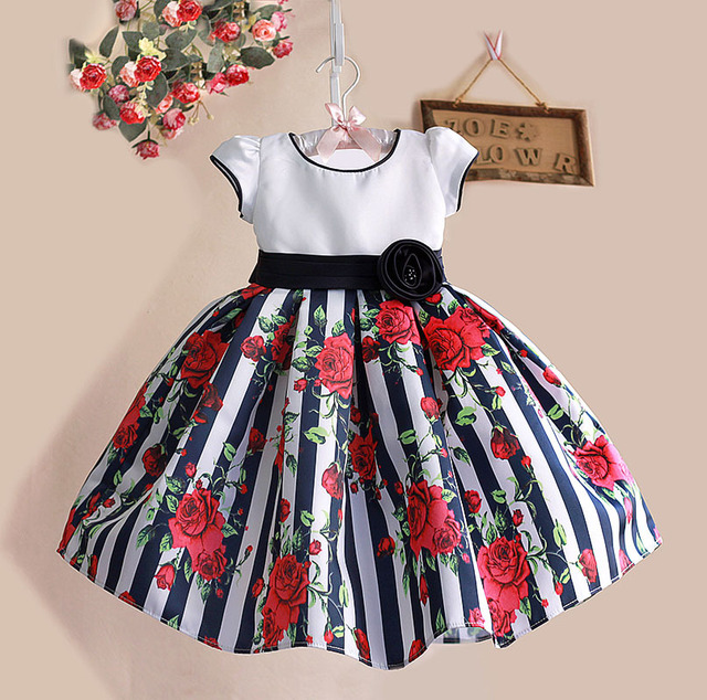 c359cdf5e3a0 1 6Y Floral Print Baby Girls Dress Black Striped Rose Cotton Kids ...