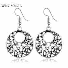 WNGMNGL Vintage Antique Sliver Color Dangle Earrings For Women 2018 Fashion Female Geometric Statement Drop Jewelry