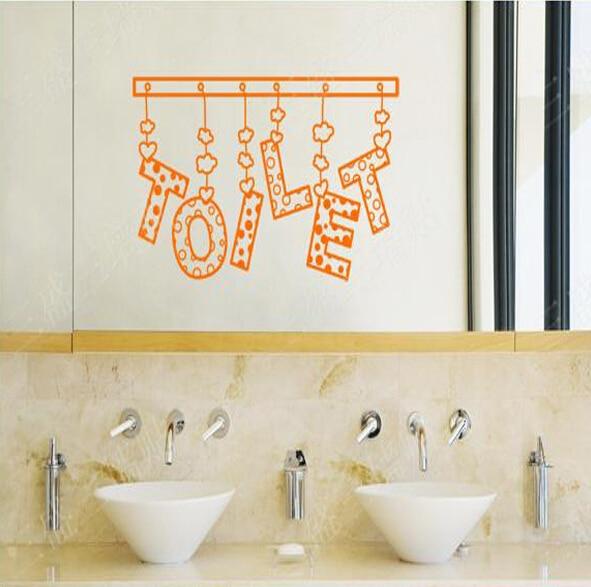 Bathroom Wall Decor Stickers Letters Toilet Door