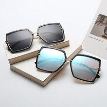 KRMDING Fashion sunglasses womens brand designer big frame polygon lens mens retro hexagon metal