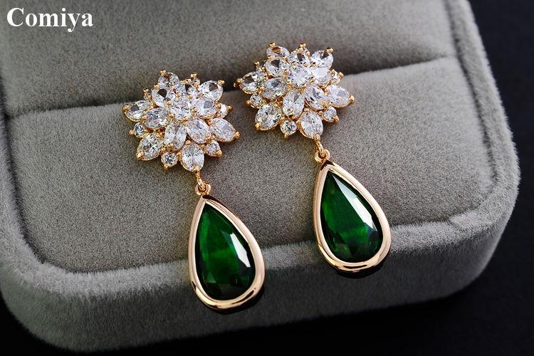 Green Drop Stone Clear Wedding Earrings Gold 18k Austria Crystal Earring Statement Indian Imitation Gemstone Jewelry In From