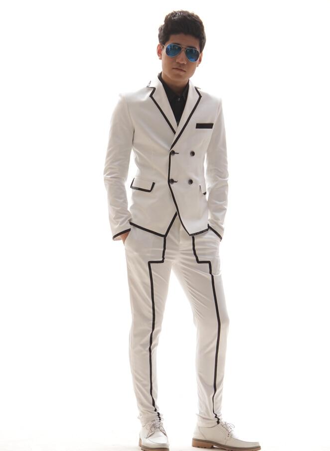 Men Slim fashion white black Stripe suit set male singer dj nightclub stage show dance costume blazer outerwear pants outfit