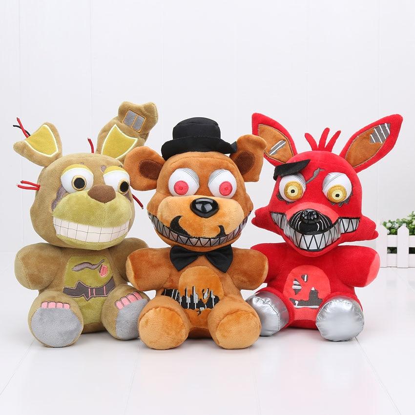 25cm 30cm FNAF Toys Five Nights At Freddy Plush Toy Bear Fox Bonnie Chica Golden Nightmare Fredbear Kids In Movies TV From