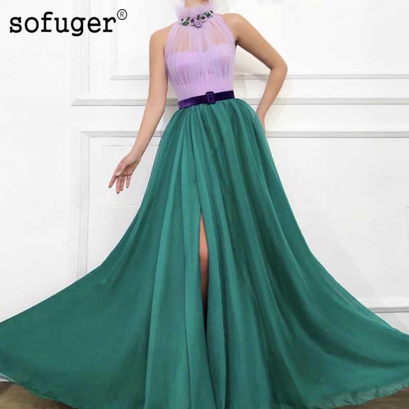 לילך ירוק הלטר צוואר קו שמלת ערב Robe דה Soiree בתוספת גודל גבוהה סדק Vestidos דה פיאסטה דה Noche פורמליות מסיבת שמלה