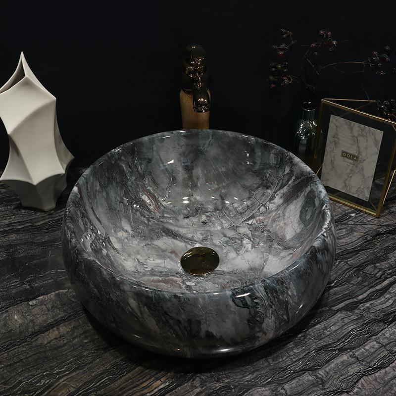 Handmade Primitive Style Stone Like Porcelain Countertop Lavabo Bathroom Sink Vintage Vanity Sink Ceramic Washbasin Gray Color Bathroom Sinks Aliexpress