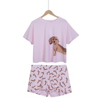 Loose Pajama Sets Women Cotton Cute Dachshund Dog Print 2 Pieces Set Crop Top Shorts Elastic