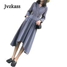 Jvzkass Temperament V-Neck Chiffon Dress 2018 Spring Womens New Korean Black Thin Retro Z170