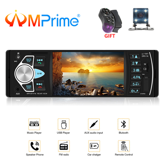 "AMPrime Autoradio 4022D 4.1 ""1 Din カーラジオオーディオステレオ USB AUX FM オーディオプレーヤーラジオ局リモート制御車のオーディオ"