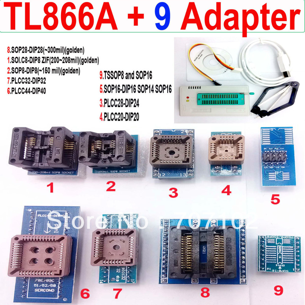 TL866A programmer 9 universal adapters PLCC Extractor TL866 AVR PIC Bios 51 MCU Flash EPROM Programmer