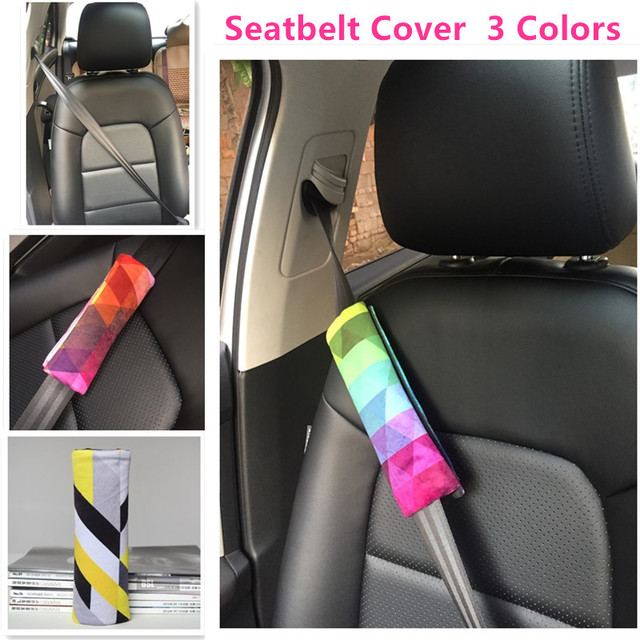 Woman Car Seat Belt Cover Kids Safety Pad Rainbow Style Auto Upholstery Decoration White