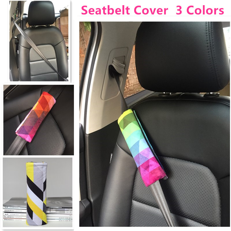 Woman Car Seat Belt Cover Kids Car Safety Belt Pad Rainbow Style Auto Upholstery Decoration White with Black with Yellow Pattern