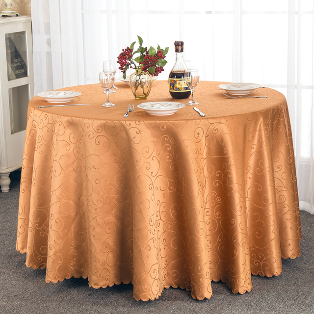 1pcs 108 inch/118 inch/132 inch Jacquard Round Tablecloth White/Pink/Gold/Ivory For Wedding Party Decorations