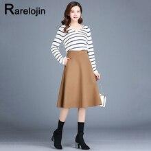Spring autumn skirt 2019 new Korean fashion high waist woolen A-line pleated skirt femme midi skirt women's skirt clothes