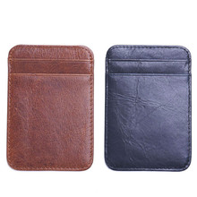 Retro Vintage Men Genuine Leather Thin font b Slim b font Wallet ID Credit Card Holder