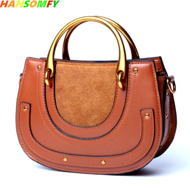 2018 spring and summer New retro saddle Women Bag Genuine Leather suede ring Female handbags Fashion shoulders diagonal Bags