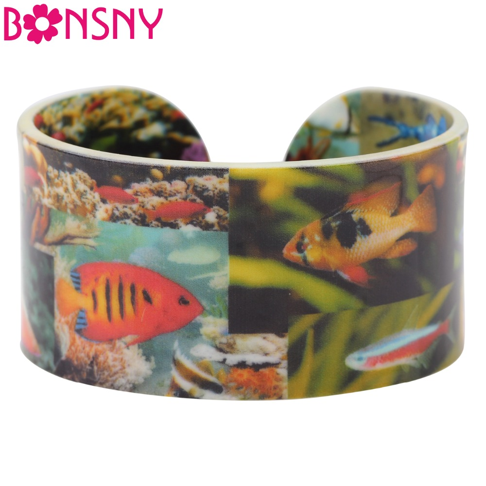 Bonsny Fish Pattern Wide Love Bracelets Bangles Marine Organisms Jewelry For Women 2017 New Ocean Collection Summer Girl Bijoux