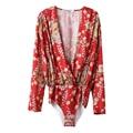 2017 Spring Women Bodysuit Cross Deep V Neck Long Sleeve  Floral Printed Rompers Elastic Waist Womens Brand jumpsuit  XCWM6116