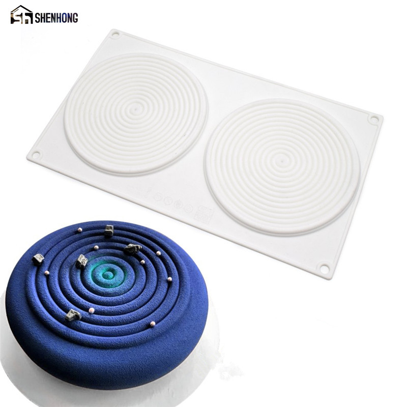 SHENHONG 2 Holes 3D Spiral Shape Cake Moulds Silicone Mold Peach Mousse For Ice Cream Chocolate Dessert Art Pan Bakeware Pastry