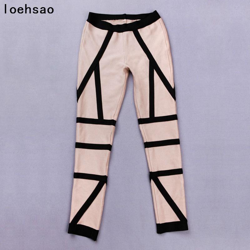 Pantalones Caqui Plana Moda Playsuit Rayas Lápiz Bodycon Bodysuit De Bandage Cintura Mediados Vendaje Sexy Nueva Aq4F4