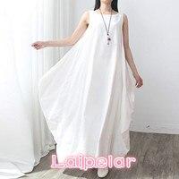Summer Dress 2018 Women Sleeveless O Neck Sexy Dress Cotton Linen Long Maxi Dresses Casual Loose Retro Solid Vestidos Plus Size