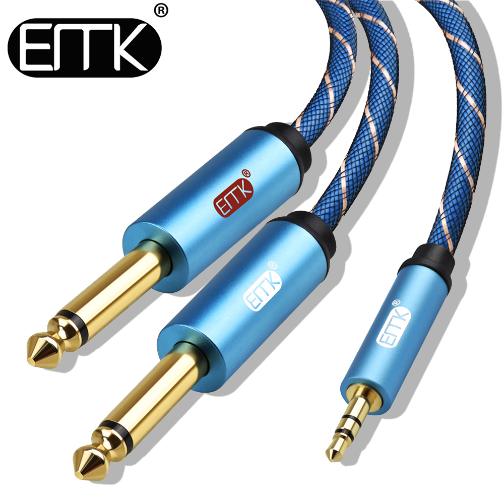 EMK 3.5mm to 2x6.35mm Aux Cable 2 mono 6.5 Jack to 3.5 Male to Male audio Cable 1.5m 2m 6.3 to 3.5 for Phone to Mixer Amplifier sdb1080 to 220f