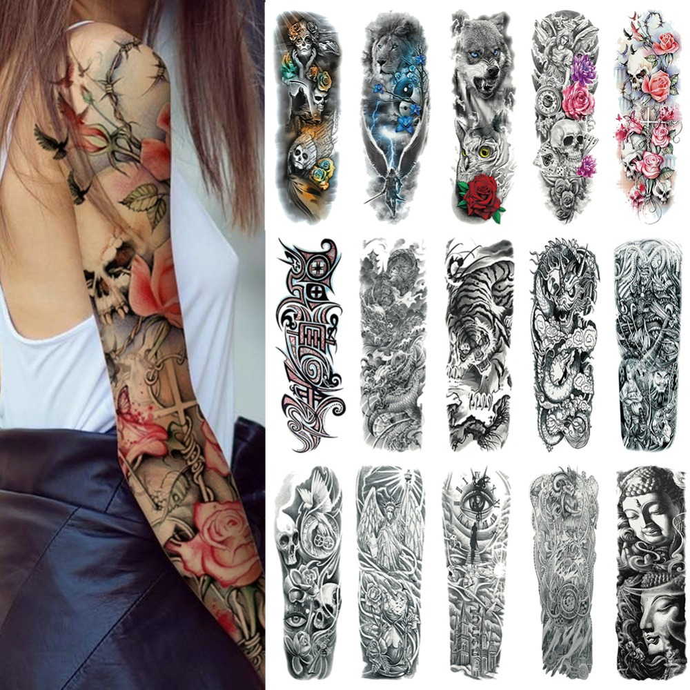 Sexy Skull Women Body Art Flash Waterproof Tattoo Stickers 48*17CM Big Temporary Tattoo Full Arm Sleeve Tatto Men Girl #288345