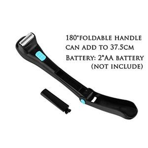 Image 5 - Men Shaving 180 Degrees Foldable Electric Back Hair Shaver Battery Manual Long Handle Hair Remover 1 Razor & 2 Blades
