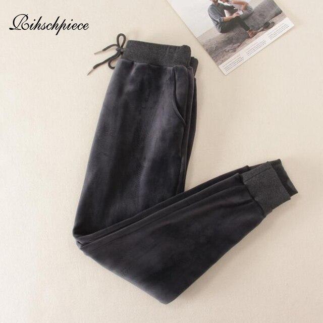 Rihschpiece Winter Velvet Pants Women Warm Harem Pant High Waist Elastic Loose Fleece Black Sweatpants Trousers RZF1552