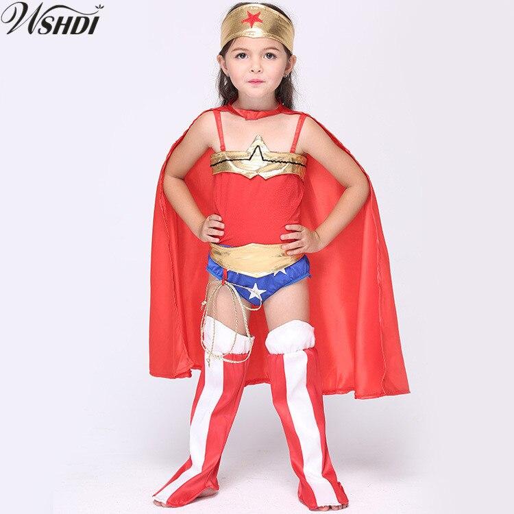 5 St Meisjes Wonder Vrouw Kostuum Halloween Cosplay Kostuum Meisje Dressing Party Super Hero Turnpakje Met Cape Sjaal Mantel Morsmouw Rijden Met Een Brullende Handel