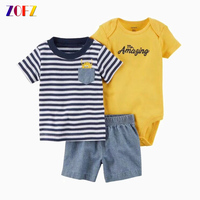 ZOFZ Baby Boy Clothes 3pcs Set Print Cotton Baby Clothing Fashion Baby Rompers With Short Pants