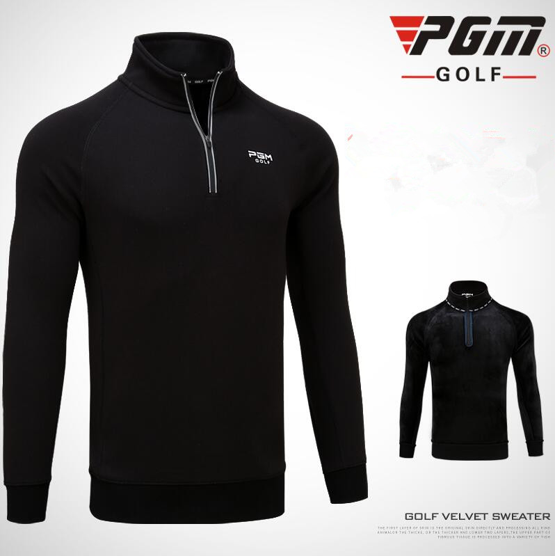 PGM 2018 new autumn winter golf apparel men's clothing long-sleeved T-shirt windproof fleece warm zip collar golf sportswear 2017 new golf shirts sport tops clothing golf shirt long sleeved men s clothing summer fast dry free shipping