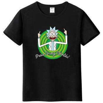 Cool Rick Morty men t shirt 2018 Summer Anime T-shirts rick and morty worlds folk black White Fitness Cartoon tee shirt homme