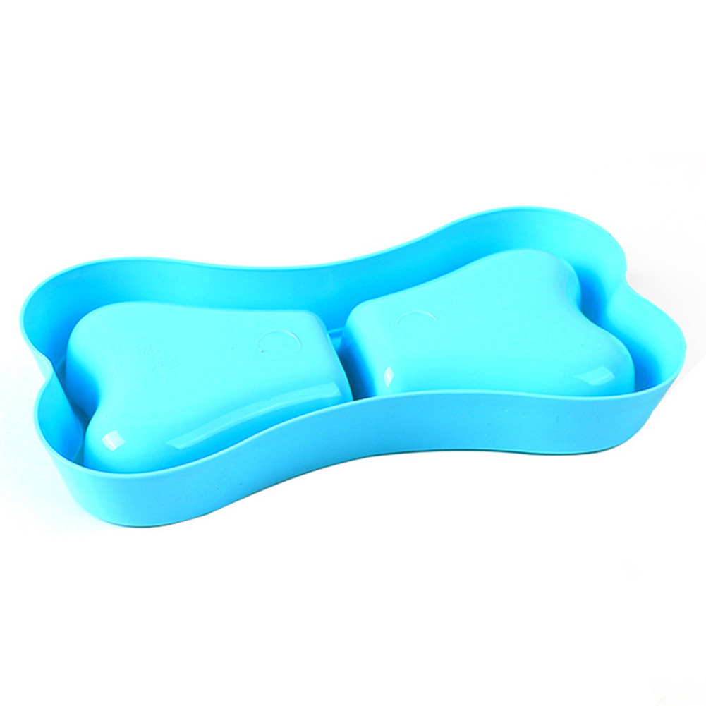 Portable Dog Double Bowls Plastic Bone Shape Puppy Water