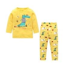 New Children Boys Girls Dinosaur Print Sleepwear Sets Long Sleeve T Shirts Long Pants Cute Casual Homewear Cartoon Knitted Cot