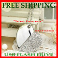 Free shipping WHOLESALE  real Capacity 4GB Crystal Heart Shaped USB Flash Drive Disk Necklace USB Flash Disk Jewelry