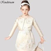 2017 di Marca Ragazze di Fiore Dei Vestiti Set Coat + Dress Solid Breve Top Quality Vestito per I Bambini Bambini Abbigliamento Formale per la Cerimonia Nuziale, HC682
