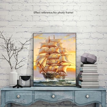 HUACAN Full Drill Square 5D DIY Diamond Painting Sailboat Diamond Embroidery Landscape Picture Of Rhinestone