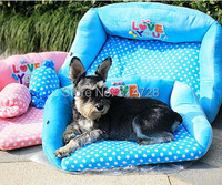 Free shipping so warm thick comfortable dot dog bed sofa with candy pillow pet mat