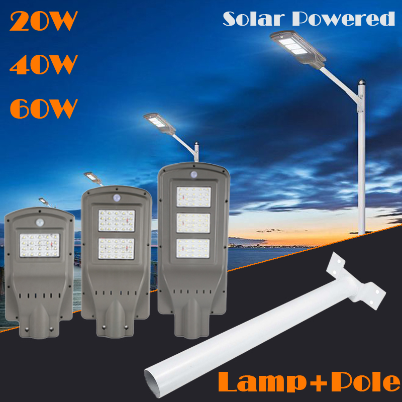 20/40/60W Garden Park Road Path Waterproof Solar street light Outdoor LED Street Light Lamp IP65 white light+Street light pole dc12v 24v 36w led street light outdoor waterproof ip65 road light 36w led street lamp for dc power supply system