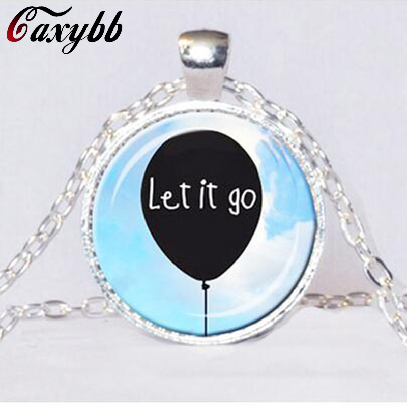 LET IT GO Pendant Encouragement Jewelry Support Group Gift Black White Sky Blue Balloon Necklace Quote Friend Gift CN511
